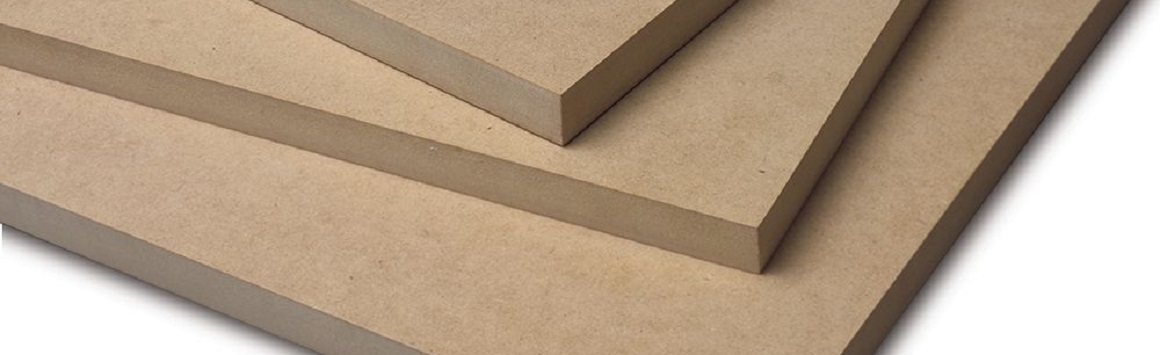An image of MDF Medium Density Fibreboard with reference to the Old Lami Ltd. MDF range of products in 6mm, 8mm, 10mm, 12mm, 16mm, 18mm, 25mm and 30mm thicknesses, along with white painted HDF, cream HDF and 18mm chipboard.
