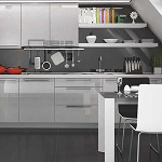 Small image of the Bakis acrylic metalic gray MDF decor
